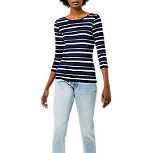 Buy Warehouse Stripe Scoop Back Top, Blue/Multi Online at johnlewis.com