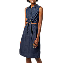 Buy Warehouse Cut Out Tie Front Midi Dress, Mid Wash Denim Online at johnlewis.com
