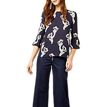 Buy Warehouse Iris Fluted Sleeve Top, Navy/Multi Online at johnlewis.com