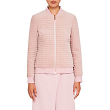 Buy Ted Baker Ted Says Relax Prindil Quilted Velvet Bomber Jacket, Dusky Pink Online at johnlewis.com