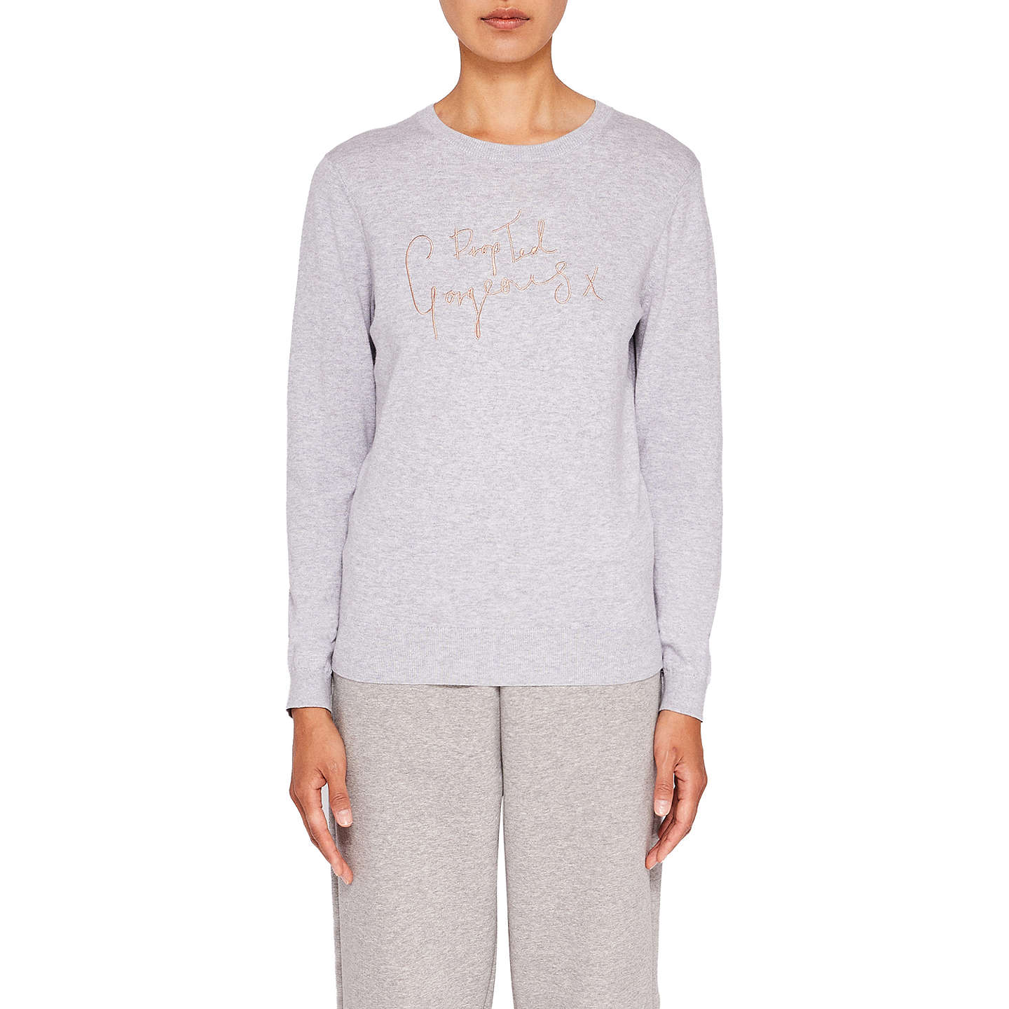 BuyTed Baker Ted Says Relax Leena Drop Ted Gorgeous Jumper, Light Grey, 0 Online at johnlewis.com