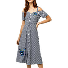 Buy Warehouse Delia Embroidered Gingham Midi Dress, Navy/White Online at johnlewis.com