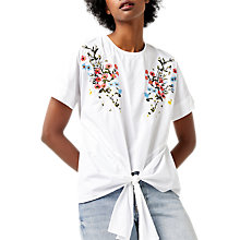 Buy Warehouse Frieda Embroidered Tie Top, White Online at johnlewis.com