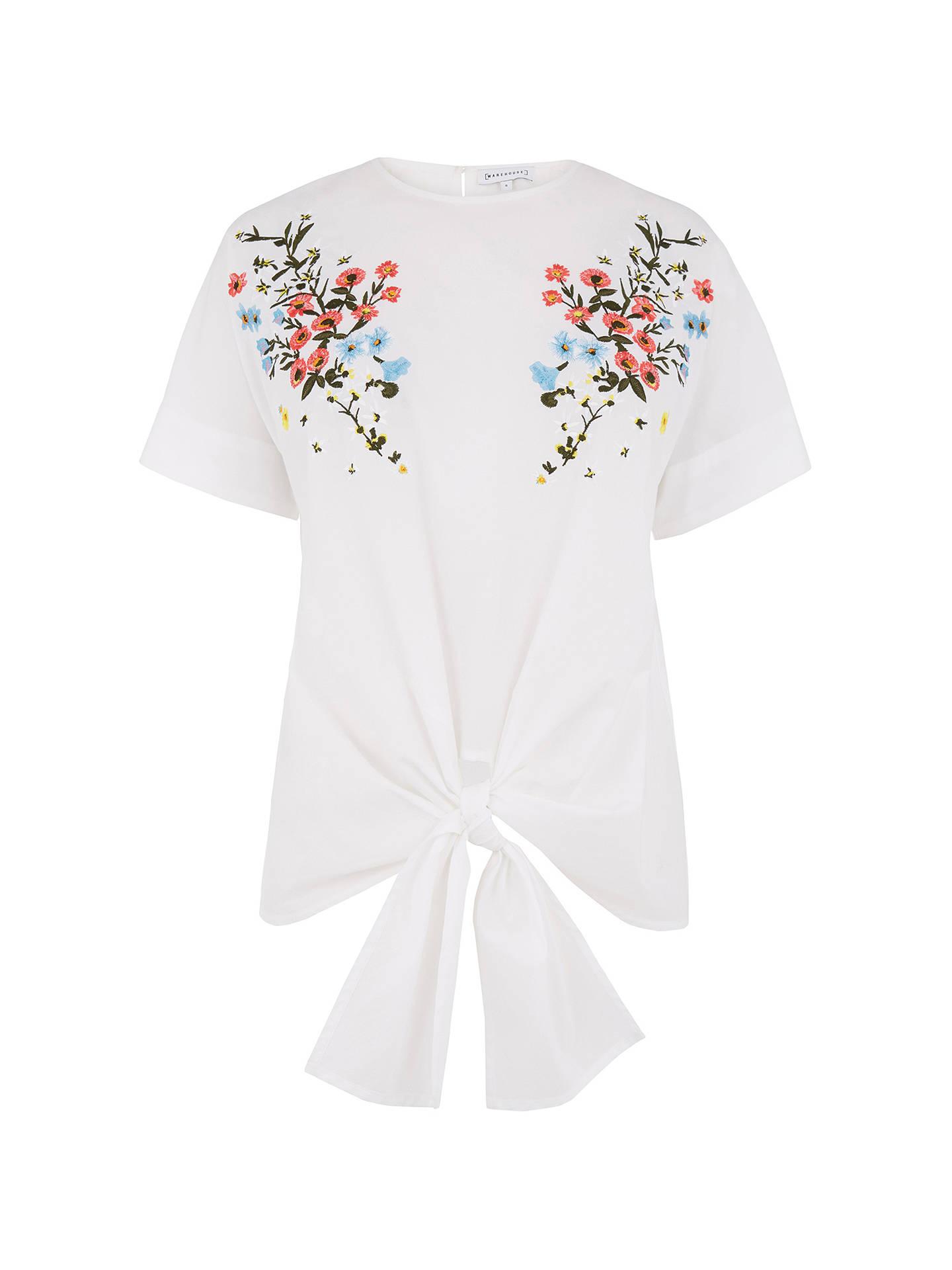 881de21c ... Buy Warehouse Frieda Embroidered Tie Top, White, 6 Online at  johnlewis.com ...