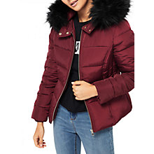 Buy Miss Selfridge Petite Faux Fur Hooded Puffer Jacket Online at johnlewis.com