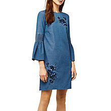 Buy Warehouse Embroidered Denim Dress, Blue Online at johnlewis.com