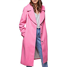 Buy Miss Selfridge Midi Coat, Pink Online at johnlewis.com