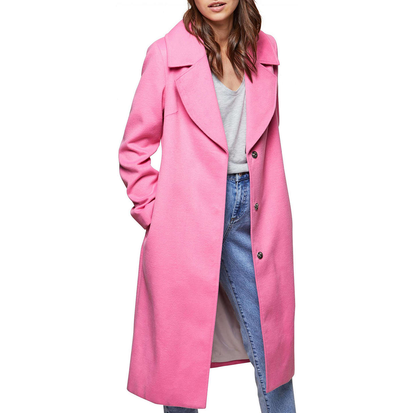 BuyMiss Selfridge Midi Coat, Pink, 6 Online at johnlewis.com