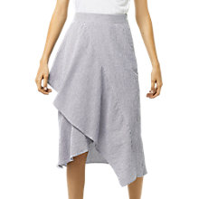 Buy Warehouse Ruffle Asymmetric Midi Skirt, Grey Stripe Online at johnlewis.com