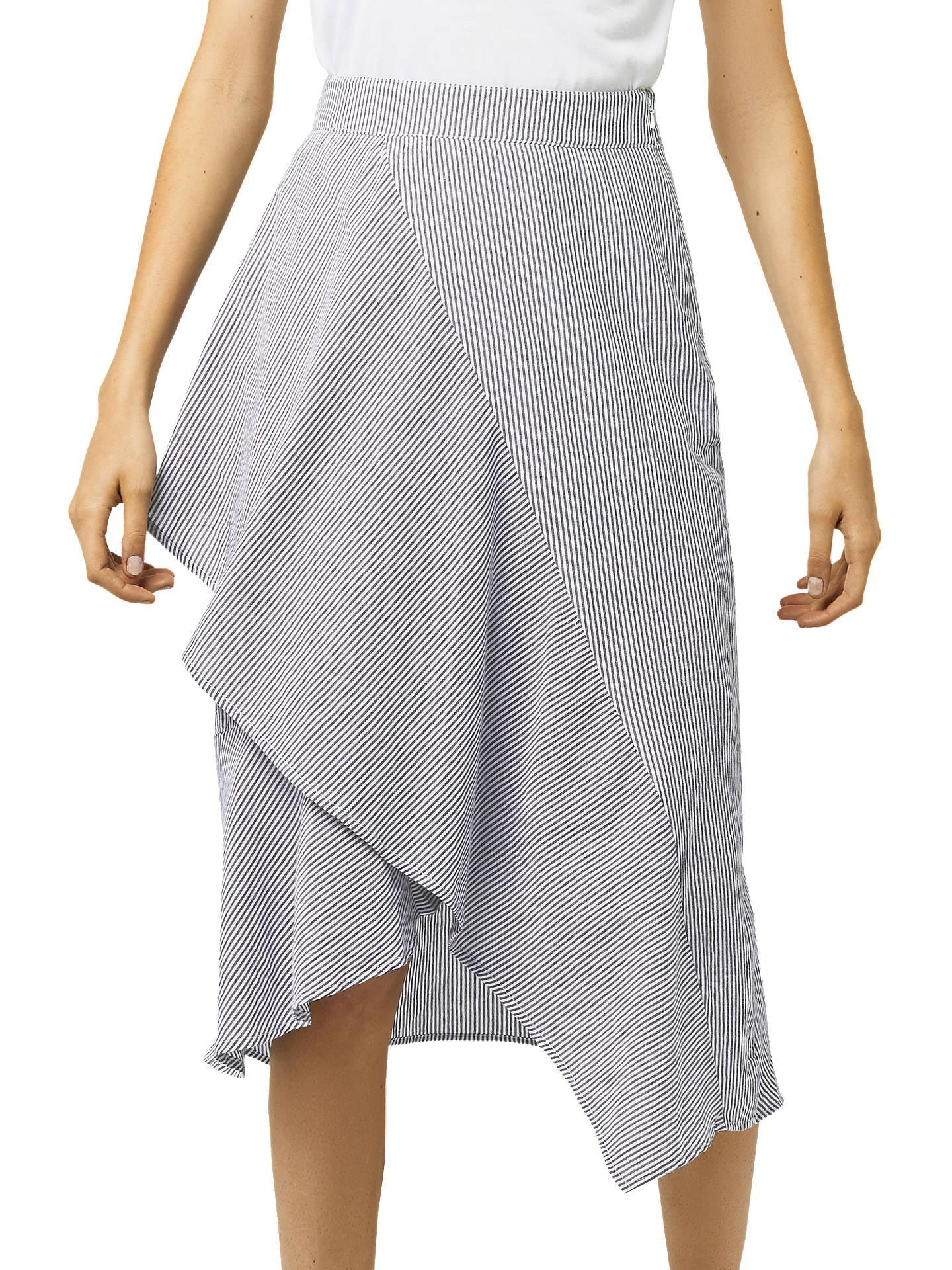 b655aea72 Buy Warehouse Ruffle Asymmetric Midi Skirt, Grey Stripe, 6 Online at  johnlewis.com ...