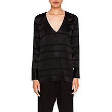Buy Ted Baker Ted Says Relax Genina V-Neck Woven Top, Black Online at johnlewis.com