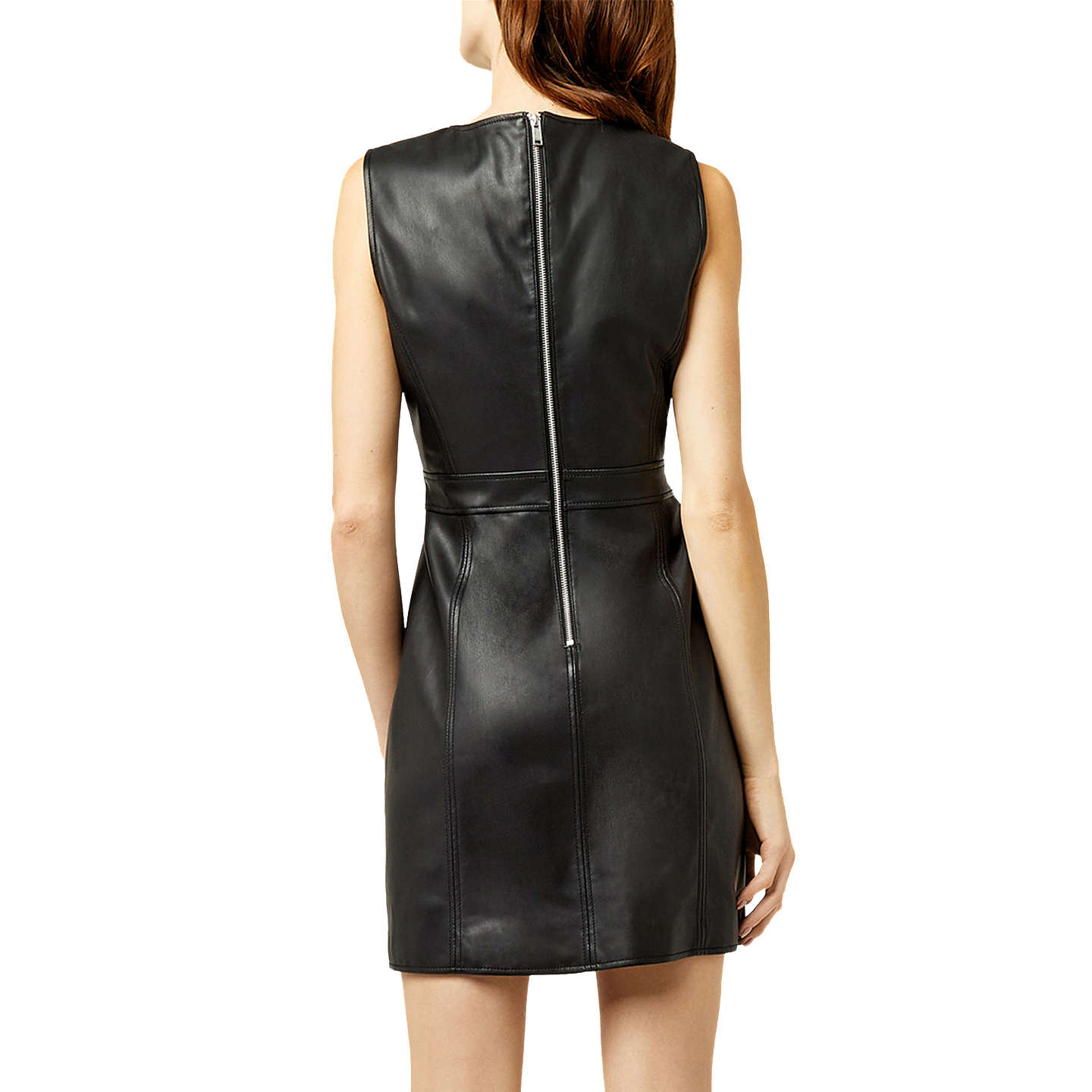 BuyWarehouse Faux Leather Dress, Black, 6 Online at johnlewis.com