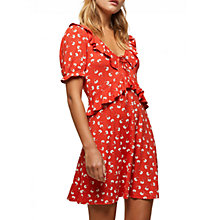 Buy Miss Selfridge Floral Frill Tea Dress, Red Online at johnlewis.com