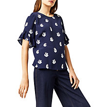 Buy Warehouse Swan Print Top, Blue Pattern Online at johnlewis.com