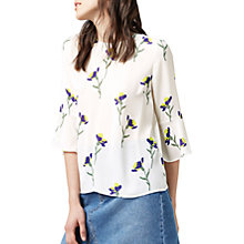 Buy Warehouse Iris Fluted Sleeve Top, Cream/Multi Online at johnlewis.com