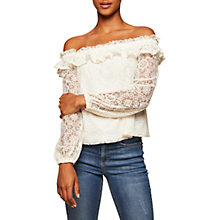 Buy Miss Selfridge Lace Bardot Top, Cream Online at johnlewis.com