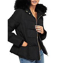 Buy Miss Selfridge Petite Faux Fur Hooded Puffa Jacket, Burgundy Online at johnlewis.com