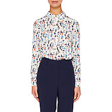 Buy Ted Baker Colour By Numbers Ontaio Silk Printed Shirt, Ivory Online at johnlewis.com