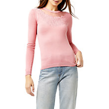 Buy Warehouse Floral Embroidered Jumper, Light Pink Online at johnlewis.com