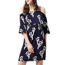 Buy Warehouse Iris Cold Shoulder Dress, Navy/Multi Online at johnlewis.com
