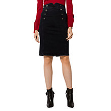 Buy Karen Millen Corset High Waist Denim Pencil Skirt, Dark Denim Online at johnlewis.com
