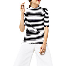 Buy Warehouse Ribbed Polo Top, Blue Stripe Online at johnlewis.com
