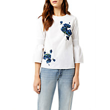 Buy Warehouse Delia Embroidered Top, White Online at johnlewis.com