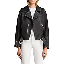Buy AllSaints Leather Vintage Balfern Biker Jacket, Black Online at johnlewis.com