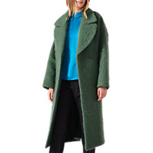 Buy Jigsaw Fluffy Wool Mohair Cocoon Coat, Green Moss Online at johnlewis.com