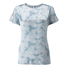 Buy Pure Collection Paisley Print Silk Satin T-Shirt, Multi Online at johnlewis.com