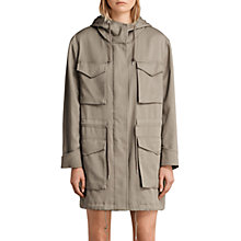 Buy AllSaints Sloane Drape Parka, Sage Green Online at johnlewis.com