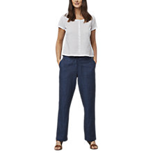 Buy East Contrast Stitch Pintuck Top, White/Blue Online at johnlewis.com