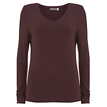 Buy Mint Velvet Bordeaux V-Neck T-Shirt, Dark Red Online at johnlewis.com
