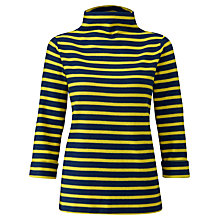 Buy Pure Collection Funnel Neck Top, Navy/Chartreuse Online at johnlewis.com