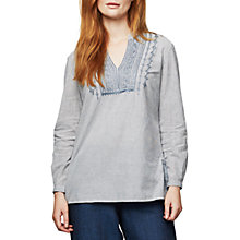 Buy East Stripe Embroidered Shirt, White Online at johnlewis.com