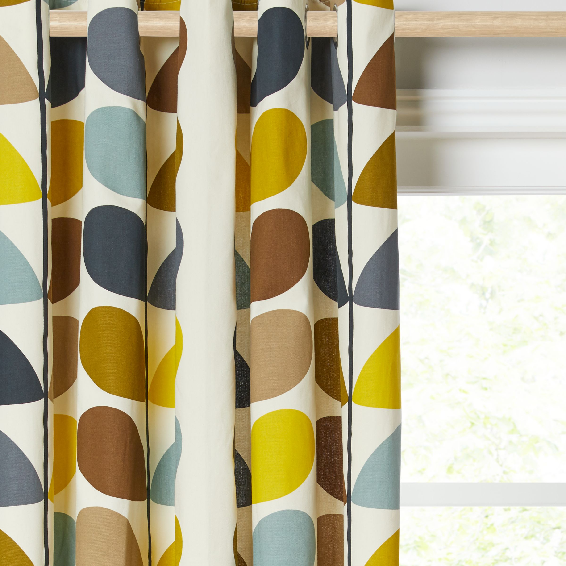 Orla Kiely Orla Kiely Multi Stem Pair Lined Eyelet Curtains, Duck Egg