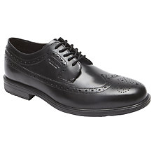 Buy Rockport Essential Wingtip Leather Waterproof Derby Shoes, Black Online at johnlewis.com