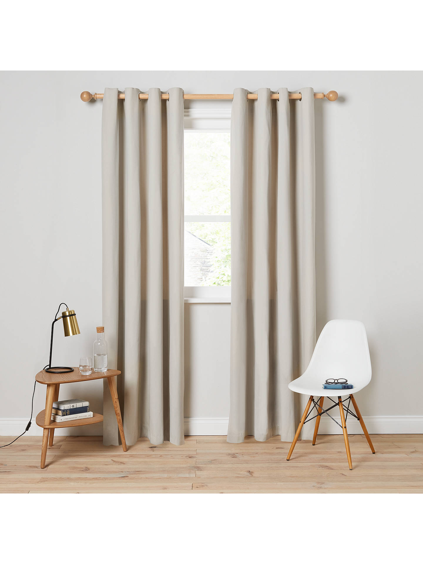 Buy House by John Lewis Arlo Pair Lined Eyelet Curtains, Putty, W167 x Drop 137cm Online at johnlewis.com