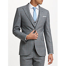 Buy John Lewis Check Tailored Fit Suit Jacket, Grey/Aqua Online at johnlewis.com