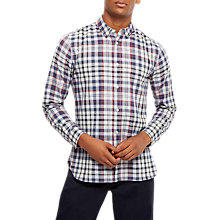 Buy Jaeger Faded Check Stripe Shirt, Grey Melange Online at johnlewis.com