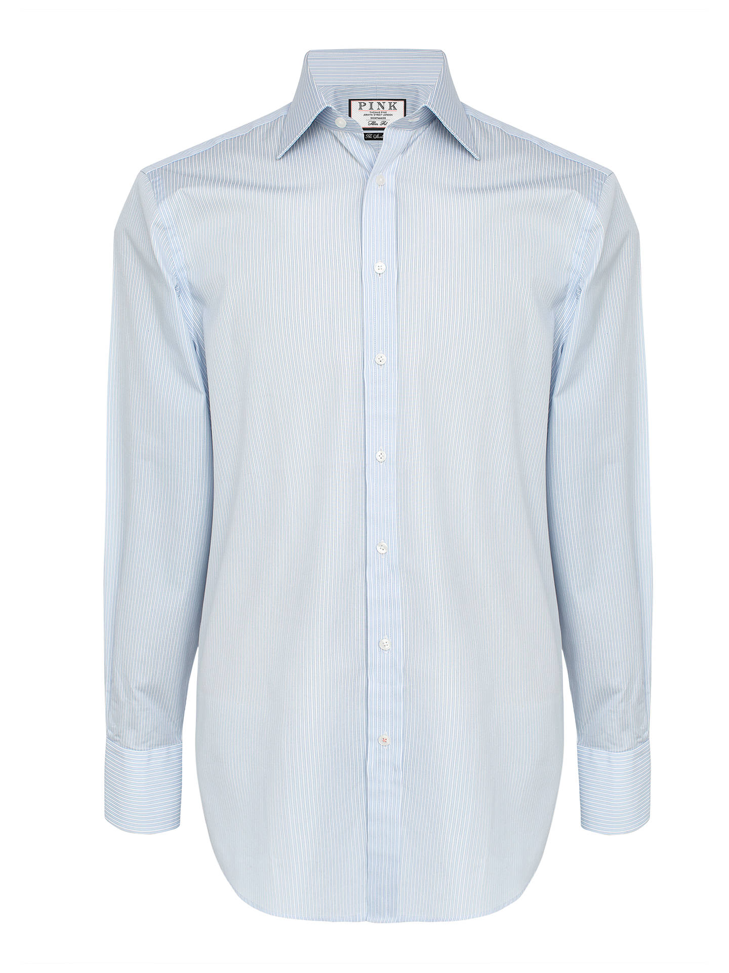 f16f053778f0a3 Buy Thomas Pink Ginsberg Stripe Slim Fit Shirt, Pale Blue/White, 15 Online  ...
