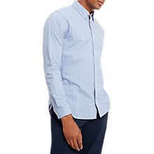 Buy Jaeger Xhatch Striped Shirt, Sky Blue Online at johnlewis.com