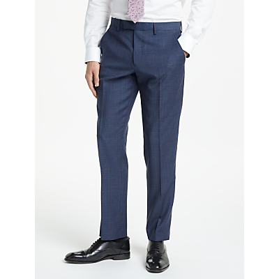 John Lewis & Partners Wool Check Tailored Suit Trousers, Blue/Raspberry