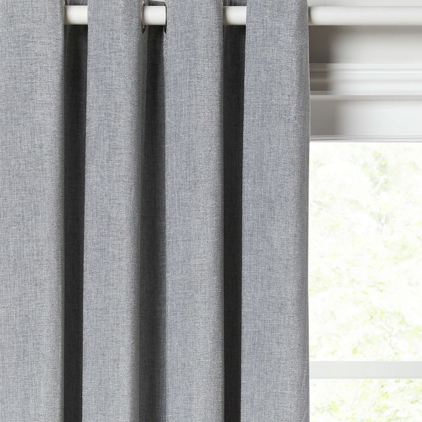 John Lewis Chester Pair Lined Eyelet Curtains, Blue Grey by John Lewis
