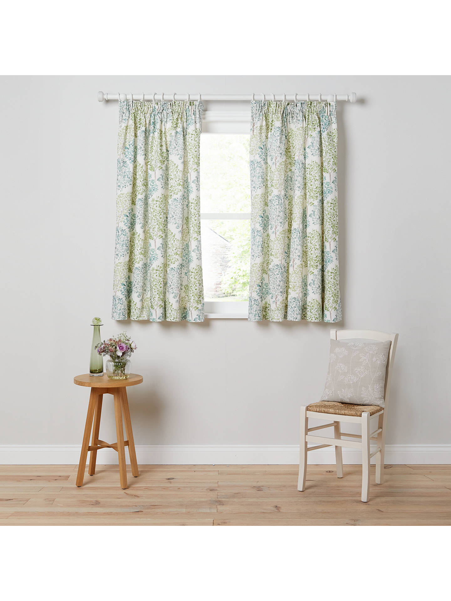 Buy John Lewis & Partners Leckford Trees Pair Lined Pencil Pleat Curtains, Green, W167 x Drop 137cm Online at johnlewis.com