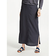 Buy John Lewis Linen Side Split Maxi Skirt, Navy Online at johnlewis.com