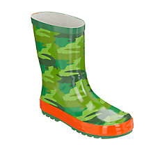 Buy John Lewis Children's Crocodile Camo Wellington Boots, Green/Multi Online at johnlewis.com