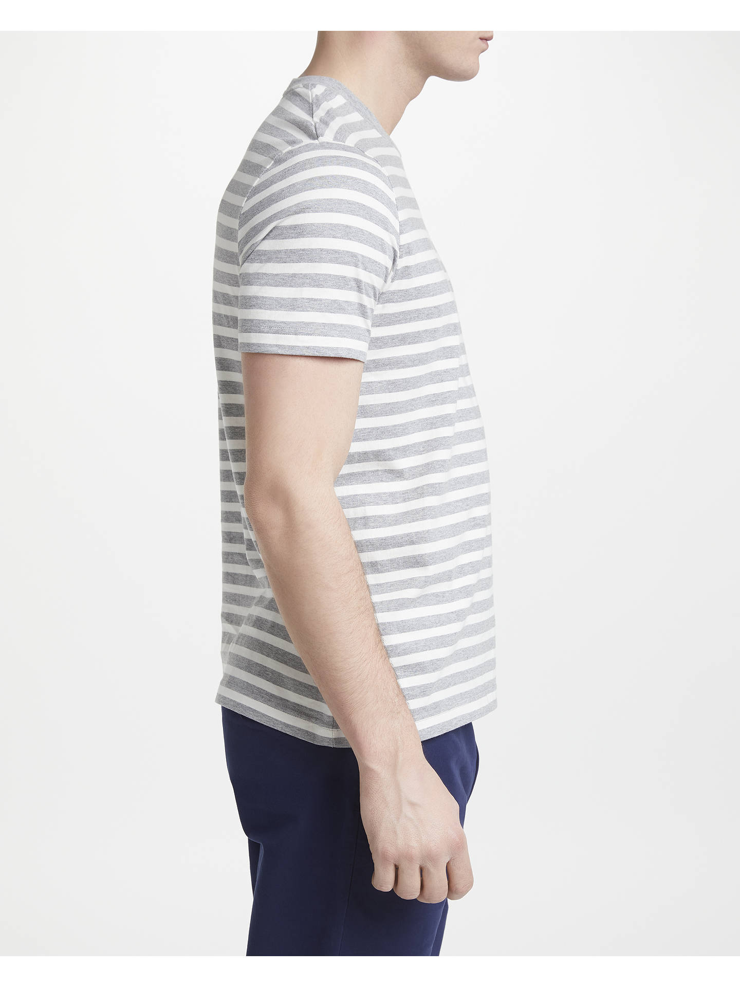 Buy John Lewis & Partners Breton Stripe T-Shirt, Grey, S Online at johnlewis.com