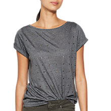 Buy Mint Velvet Marl Eyelet T-Shirt, Charcoal Online at johnlewis.com