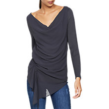 Buy Mint Velvet Ruched Layer T-Shirt, Granite Online at johnlewis.com